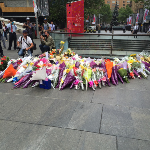 Flowers in Martin Place at 9.30am on Tuesday.